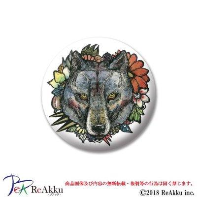 画像1: 缶バッジ44mm-狼と花-原良輔